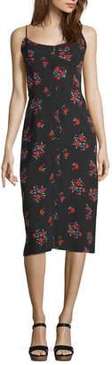 Arizona Sleeveless Floral A-Line Dress-Juniors