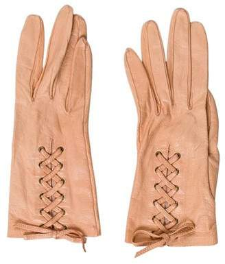 Chanel Lambskin Lace-Up Gloves