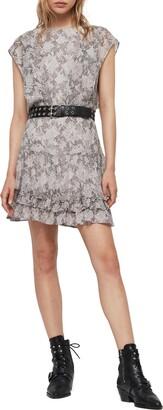 AllSaints Evely Midgard Snakeskin Print Dress