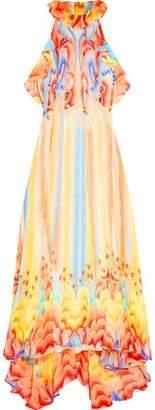 Temperley London Asymmetric Ruffled Printed Silk-Chiffon Dress