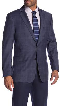 Brooks Brothers Medium Blue Plaid Two Button Notch Lapel Classic Fit Sport Coat