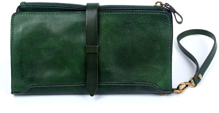 Green Casey Leather Clutch
