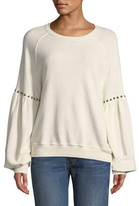 The Great The Bishop-Sleeve Sweatshirt with Studded Trim