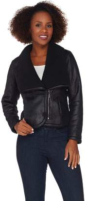 Halston H By H by Faux Shearling Motorcycle Jacket