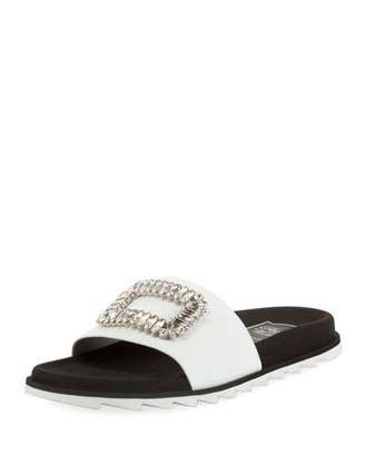 Roger Vivier Slidy Viv Strass Buckle Flat Sandals, White