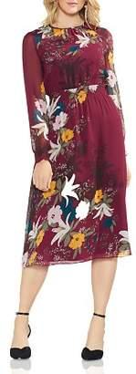 Vince Camuto Autumn Botanical Long-Sleeve Dress
