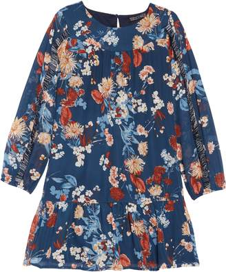 Trixxi Metallic Print Drop Waist Dress