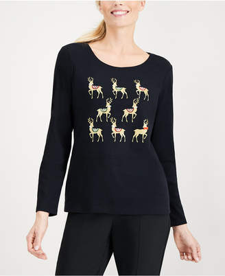 Karen Scott Petite Cotton Holiday-Reindeer Top, Created for Macy's