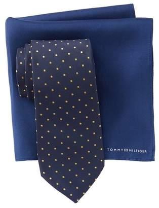 Tommy Hilfiger Silk Easy Dot Tie & Solid Pocket Square Set