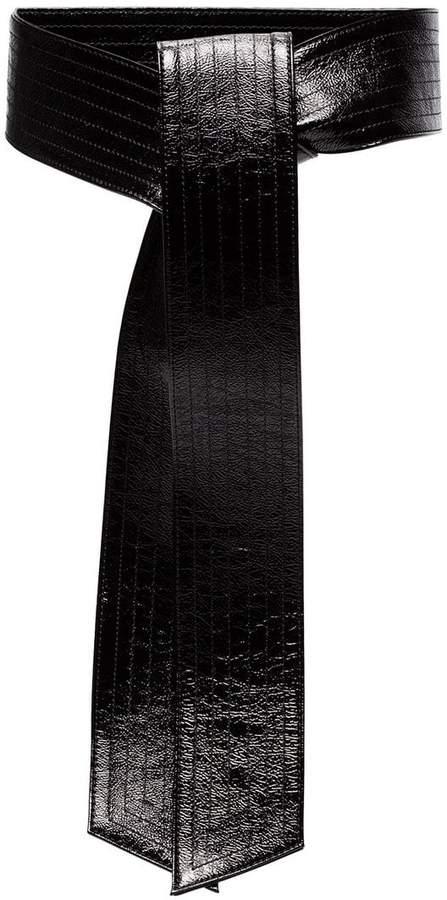 Givenchy GIV BLK BELT WIDE PATWNT LTHR