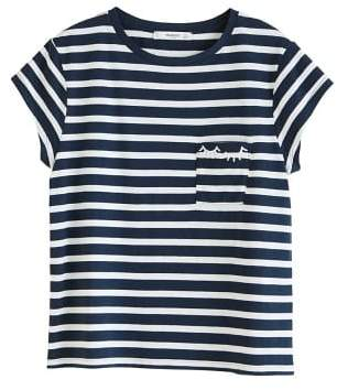 MANGO Chest-pocket striped t-shirt