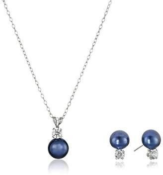 Sterling Silver Cubic Zirconia 7-8mm Dyed Freshwater Cultured Pearl Stud Earrings and Pendant Necklace Jewelry Set