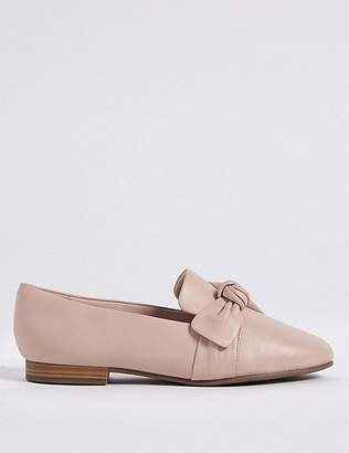 Marks and Spencer Wide Fit Leather Knot Pumps