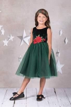 Kids Dream Velvet Rose Patch Girl Dress Green