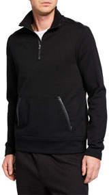 Men's Quarter-Zip Sweater w/ Faux-Leather Trim