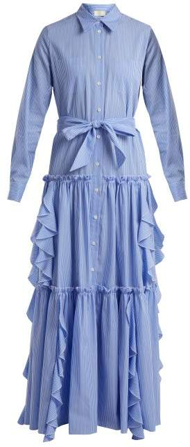 Buy Ruffle-trimmed striped cotton dress!