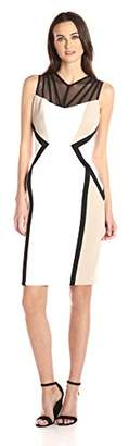 Calvin Klein Women's Sleeveless Color Block Sheath Dress with Sheer Yoke