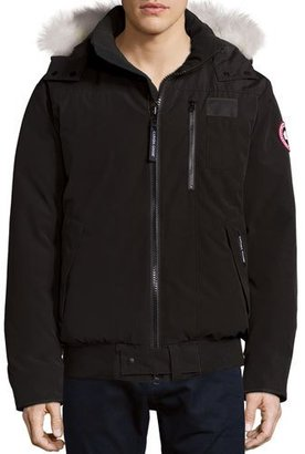 Canada Goose Borden Bomber Jacket with Fur-Lined Hood, Black $800 thestylecure.com
