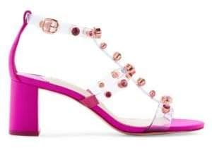 Sophia Webster Women's Dina Studded Vinyl& Satin Block Heel Slingback Sandals - Fuchsia - Size 35 (5)