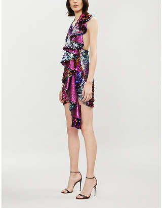 Halpern Cascade sequinned dress