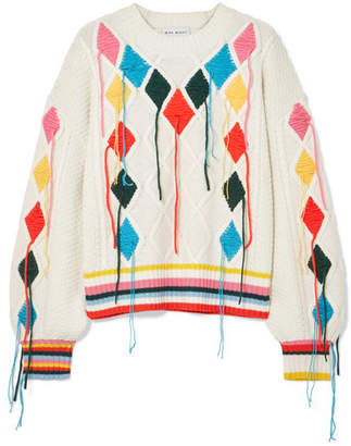Mira Mikati Embroidered Cable-knit Sweater - Cream
