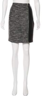 Yigal Azrouel Leather-Accented Tweed Skirt
