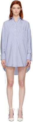 Maison Margiela Blue and White Stripe Layered Shirt Dress