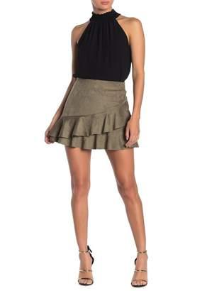 Naked Zebra Ruffled Faux Suede Mini Skirt