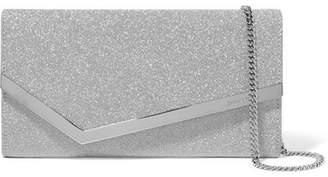 Jimmy Choo Emmie Glittered Leather Clutch - Silver