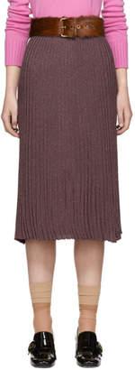 Prada Burgundy Lurex Plisse Skirt