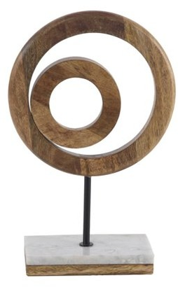 DecMode Decmode Rustic 13 X 9 Inch Brown Wooden Eccentric Rings Sculpture
