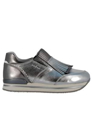 Hogan Silver Leather Slip On Sneakers
