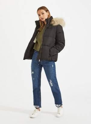 Miss Selfridge Black hooded puffer coat