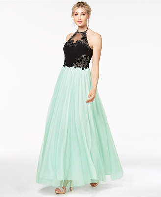 Blondie Nites Juniors' Embellished Applique Gown