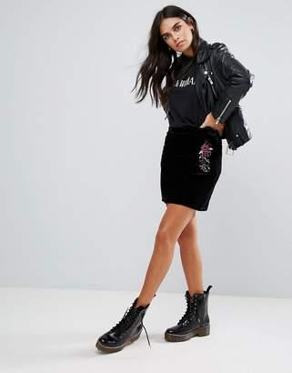 Brave Soul Velvet Embroidered Skirt
