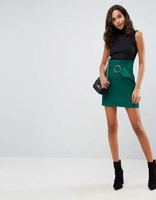 Asos Tailored Mini Skirt With Metal Circle Buckle