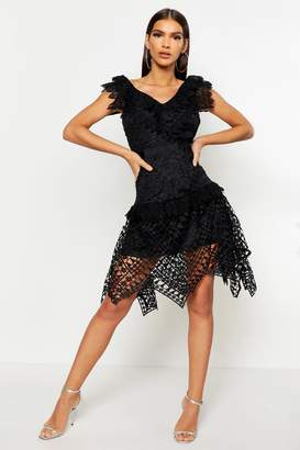 boohoo All Over Crochet Skater Midi Dress