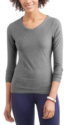 N.Y.L. Sport Women's Active Long Sleeve Vneck Performance T-Shirt