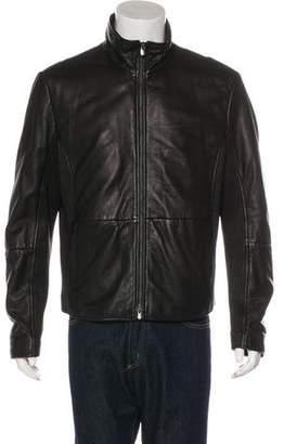 Armani Collezioni Rib-Trimmed Leather Jacket