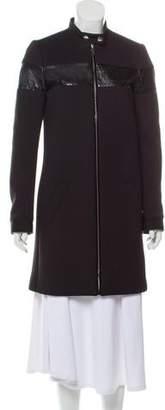 Barbara Bui Snakeskin-Trimmed Knee-Length Coat