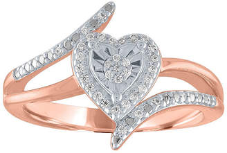 FINE JEWELRY Womens 1/10 CT. T.W. Genuine White Diamond 14K Rose Gold Over Silver Sterling Silver Heart Bypass Ring