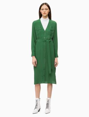 Calvin Klein v-neck belted shirt dress
