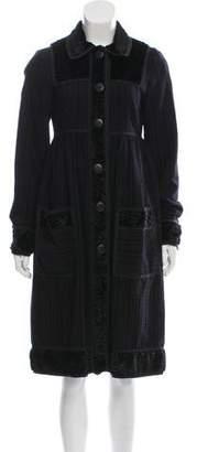 Anna Sui Plissé Knee-Length Coat