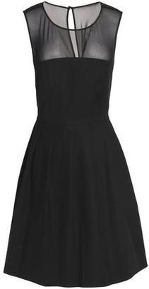 Halston Georgette-Paneled Cotton-Blend Ponte Mini Dress