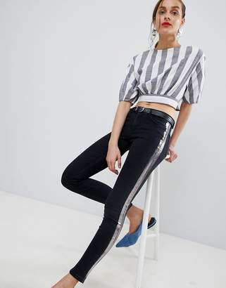MANGO foil stripe jeans in black