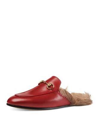 Gucci Princetown Fur-Lined Mule, Red $995 thestylecure.com