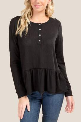 francesca's Tracey Button Front Peplum Top - Black