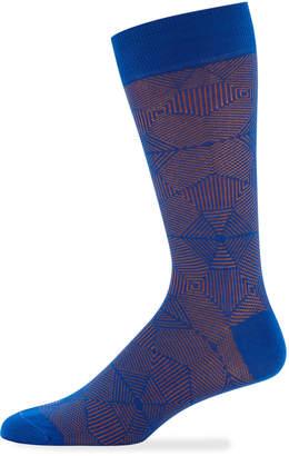 Jared Lang Men's Geometric Cotton Socks