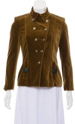 Bill Blass Velvet Leather-Accented Jacket Tan Velvet Leather-Accented Jacket