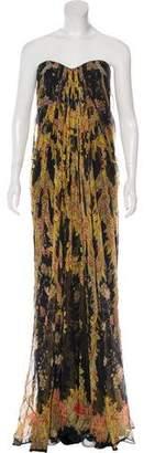 Alexander McQueen Printed Strapless Silk Gown